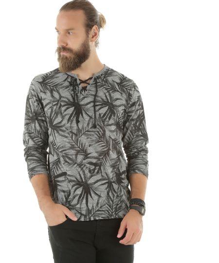 Camiseta Estampada de Coqueiros Cinza Mescla