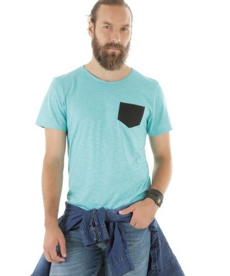 Camiseta Flamê com Bolso Azul Claro