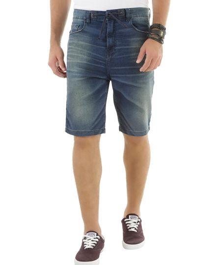 Bermuda Jeans em Moletom Azul Escuro