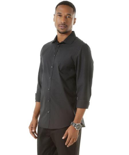 Camisa Social Slim Listrada Preta
