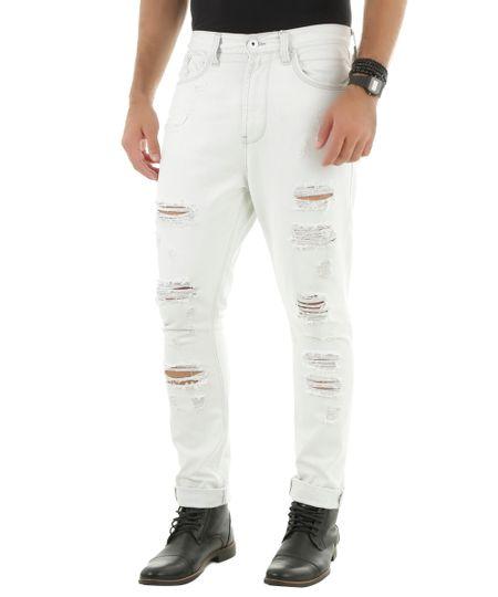 Calça Cenoura Jeans Branca