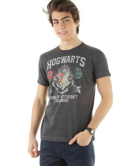 Camiseta Hogwarts Cinza Mescla