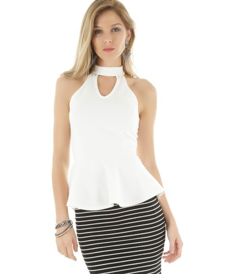 Regata Peplum Off White