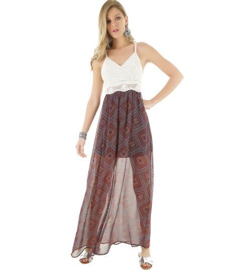 Vestido Longo Estampado com Crochê Vinho
