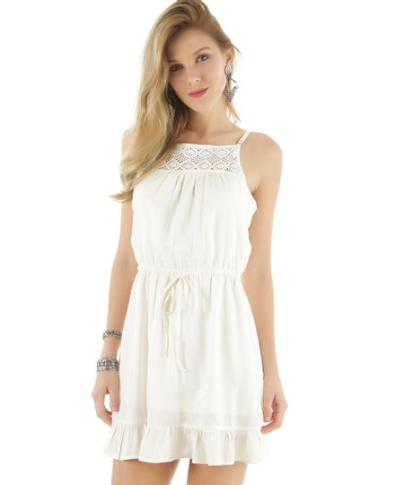 Vestido com Renda Off White