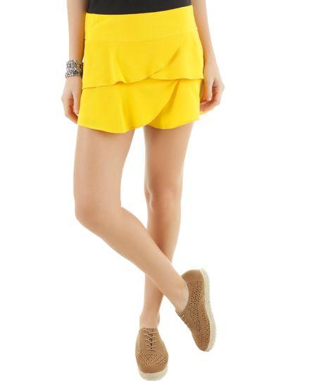 Short com Babados Amarelo