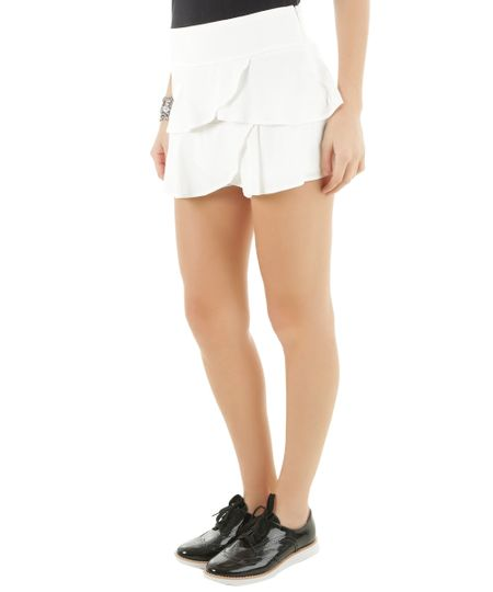 Short com Babados Off White