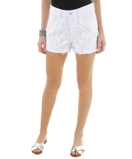 Short Hot Pant com Renda Branco