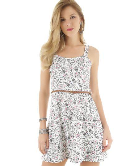 Vestido Estampado Floral com Cinto Branco