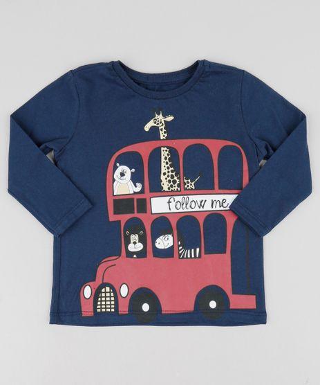 0e31421729d9c Camiseta Infantil Ônibus com Animais Manga Longa Gola Careca Azul Marinho