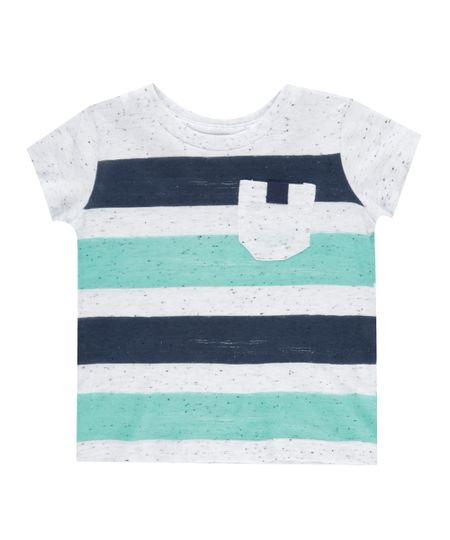 Camiseta Botonê Listrada Off White