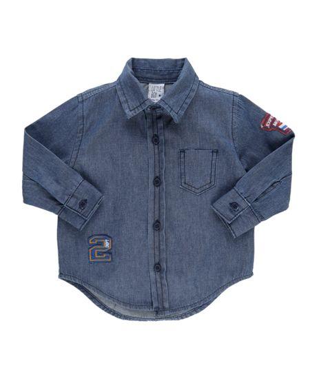 Camisa Jeans com Bordado Azul Escuro
