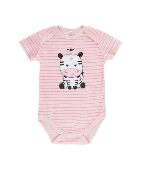 Body Listrado Zebra em Algodão + Sustentável Rosa Claro