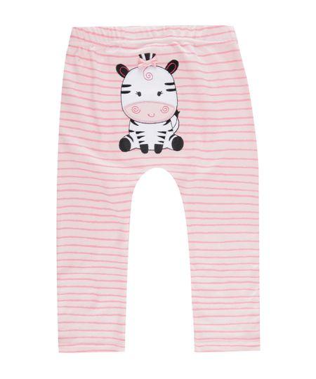 Calça Listrada Zebra em Algodão + Sustentável Rosa Claro