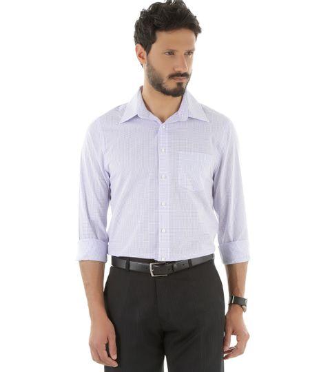 Camisa Social Comfort Xadrez Lilás