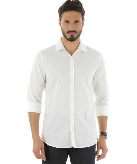 Camisa Social Slim Off White