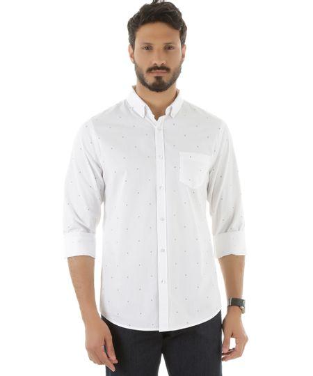 Camisa Social Estampada de Âncoras Branca