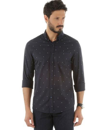 Camisa Social Estampada de Âncoras Azul Marinho