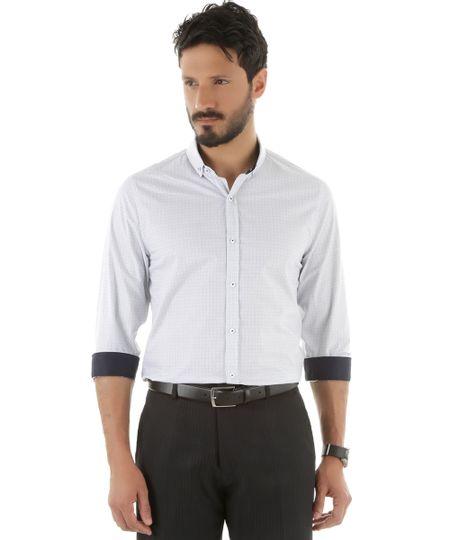Camisa Social Slim Estampada Branca