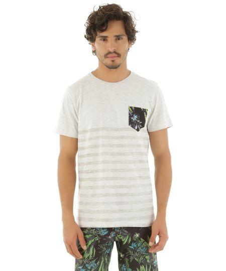 Camiseta com Bolso Estampado Rangiroa Cinza Mescla