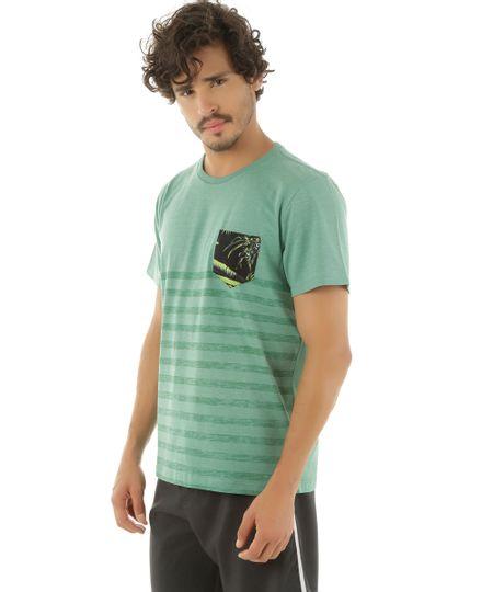 Camiseta com Bolso Estampado Rangiroa Verde