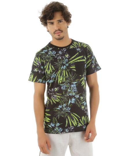 Camiseta Estampada Tropical Rangiroa Preta