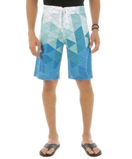 Bermuda Estampada Geométrica Azul