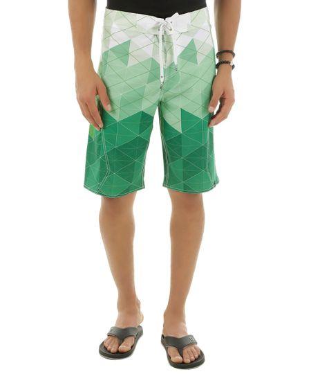 Bermuda Estampada Geométrica Verde