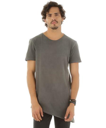 Camiseta Assimétrica Chumbo