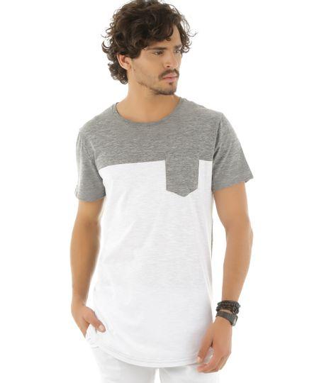 Camiseta Longa com Bolso Cinza Mescla