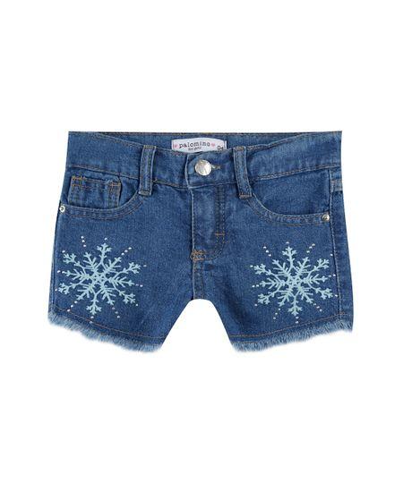 Short Jeans Bordado Azul Médio