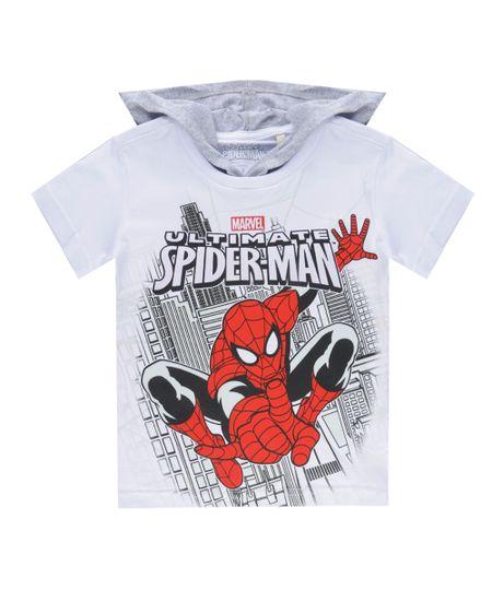 Camiseta com Capuz Homem Aranha Branca