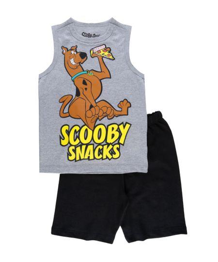 Conjunto de Regata Cinza Mescla + Bermuda Scooby Doo Preta
