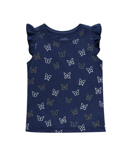 Blusa Estampa de Borboletas Azul Marinho