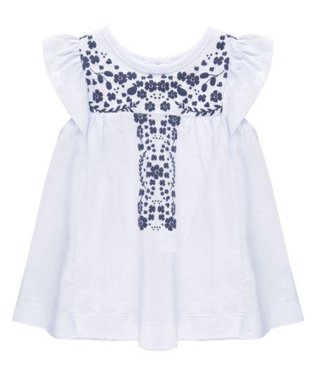 Blusa com Estampa Floral Branca