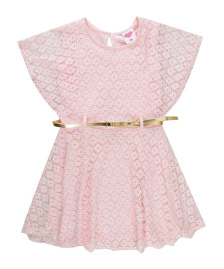 Vestido em Renda com Cinto Rosa Claro
