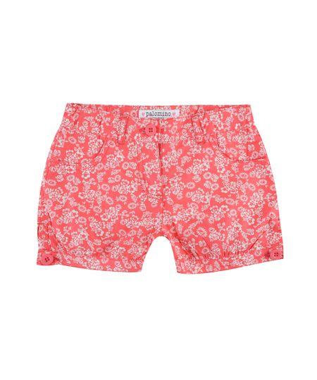 Short Estampado Floral Vermelho