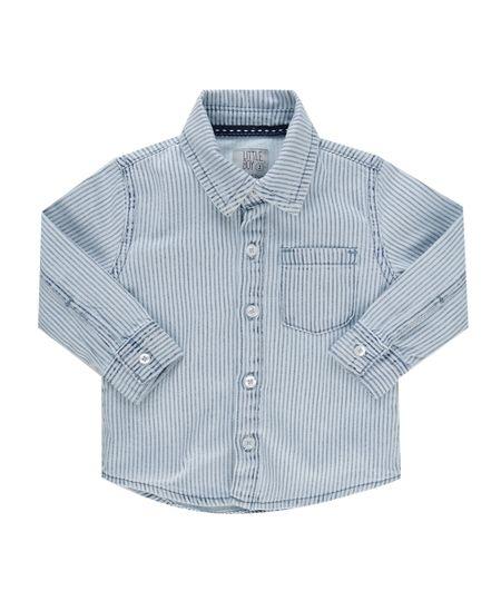 Camisa Jeans Listrada Azul Claro