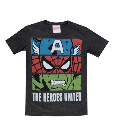 Camiseta Os Vingadores Cinza Mescla