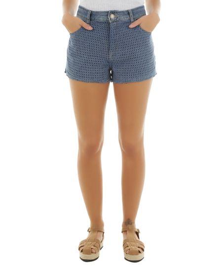 Short Jeans Relaxed com Crochê Cia. Marítima Azul Médio