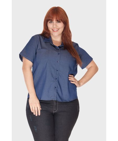 Camisa Jeans Fake Plus Size