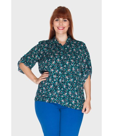 Camisa Shirley Flor Plus Size