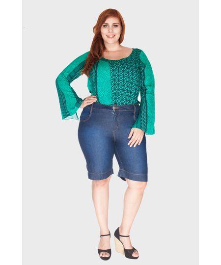 Bermuda Jeans Bordado Plus Size