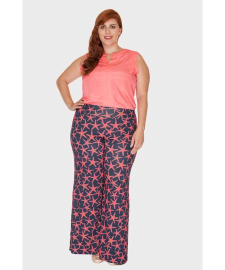 Calça Pantalona Tropical Plus Size