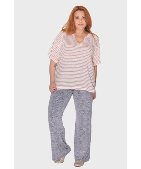 Calça Pantalona Estampada Plus Size