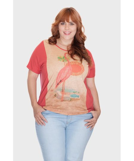 Blusa Estampa Flamingo Plus Size