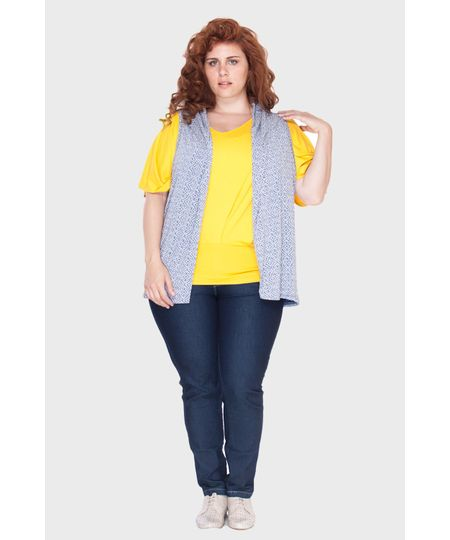 Veste Estampada Plus Size