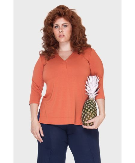 Blusa V Prega Plus Size
