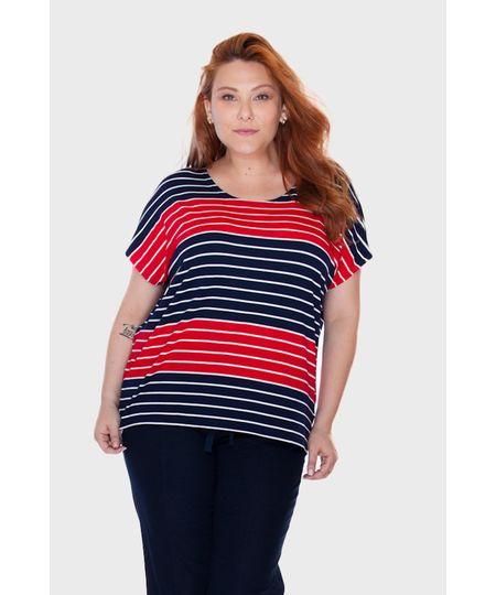 Blusa Listrada Bicolor Plus Size