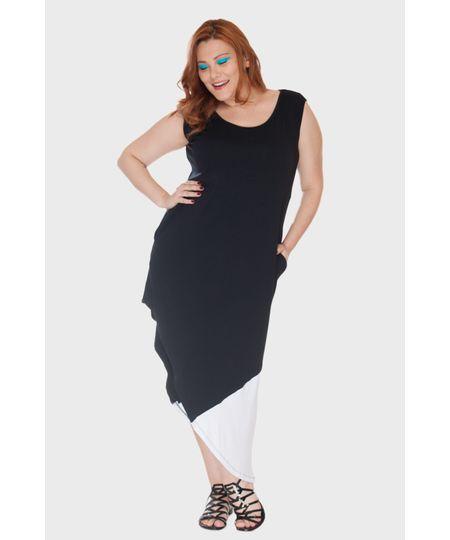 Vestido Barra Assimétrica Plus Size